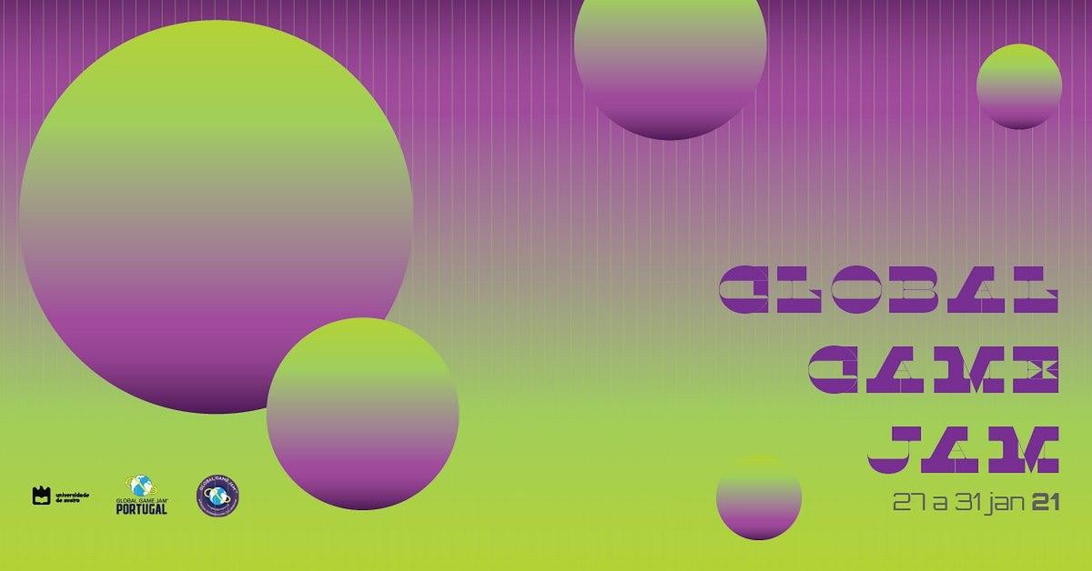Imagem de divulgação, com figuras esféricas, da Global Game Jam